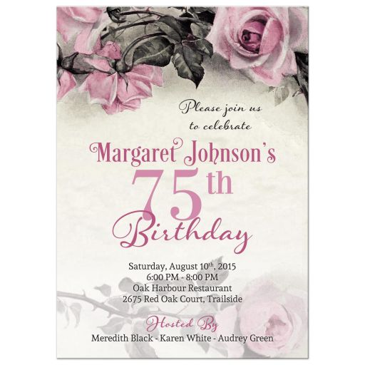 Vintage pink, grey (gray), and ivory rose illustration 75th birthday party invitation front