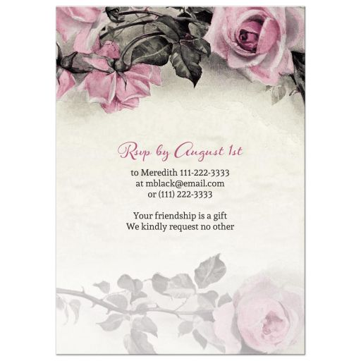 Vintage pink, grey (gray), and ivory rose illustration 75th birthday party invitation back