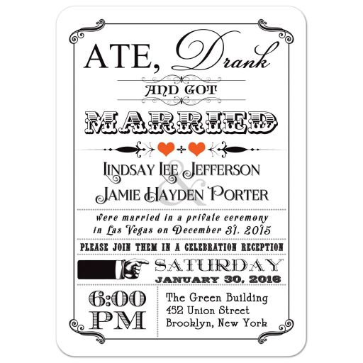 Black and white vintage poster post-wedding reception invitation with orange hearts