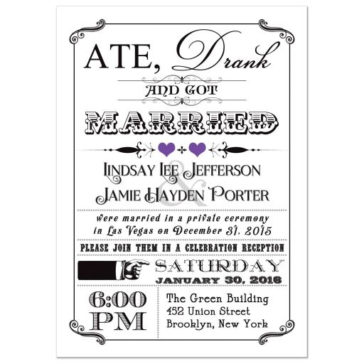 Black and white vintage poster post-wedding reception invitation with purple hearts