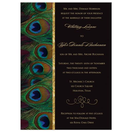 Peacock feathers wedding invitation in plum wine, black, and gold