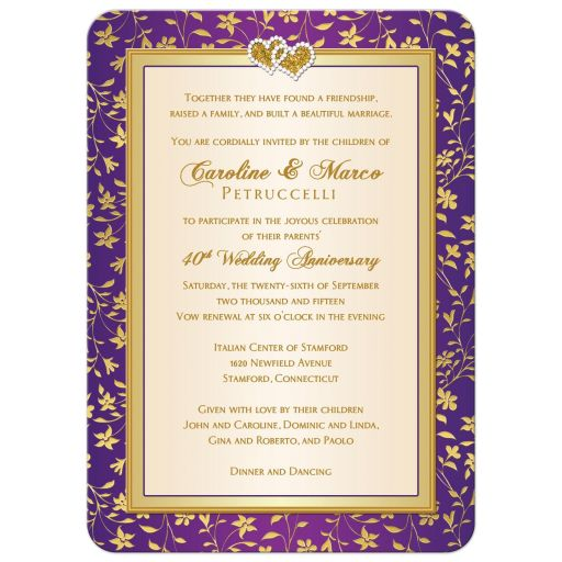 Best purple, ivory, and Gold Floral Wedding Invitation with joined hearts
