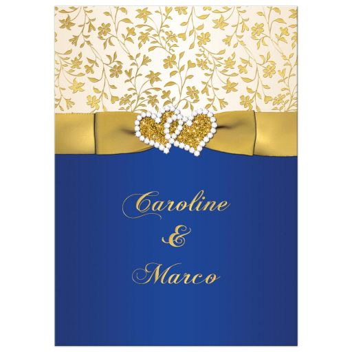 Best 40th Wedding Anniversary Invitation In Royal Blue Ivory And Gold Floral With Ribbon