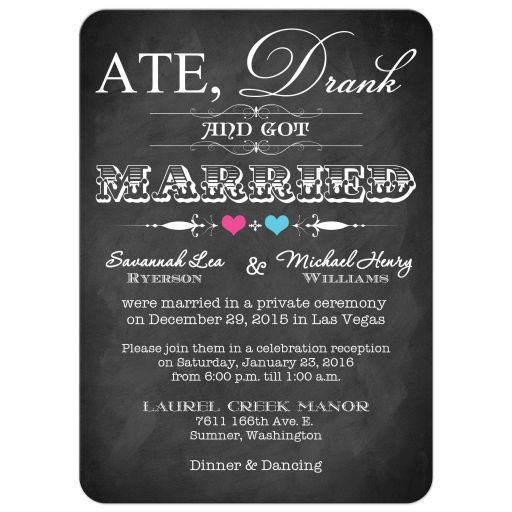 Post-wedding reception only invitations