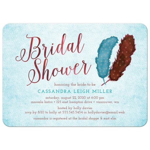 Painted Watercolor Feathers Bridal Shower Invitations front