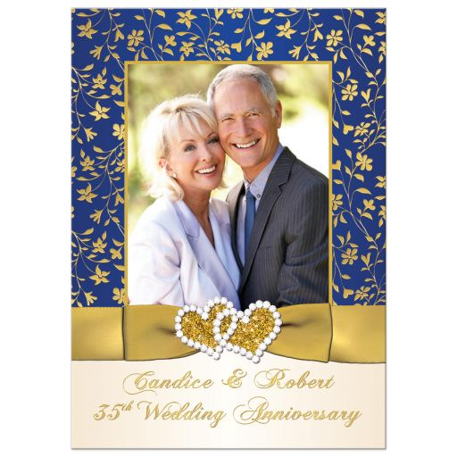 Best 35th wedding anniversary invitation with photo, ribbon, and joined hearts