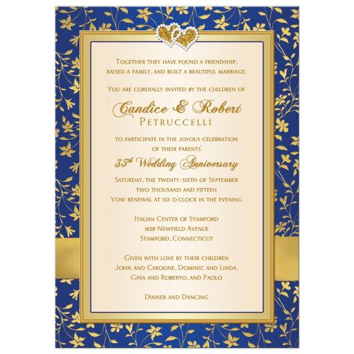 Great royal blue, gold, and ivory floral 35th wedding anniversary invite with ribbon and jewelled joined hearts