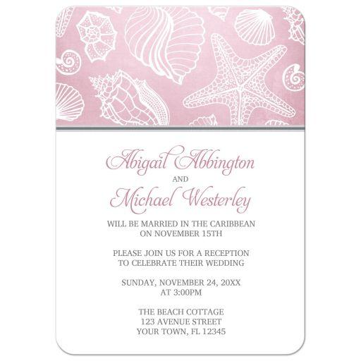 Reception Only Invitations - Beach Pink Seashell Pattern