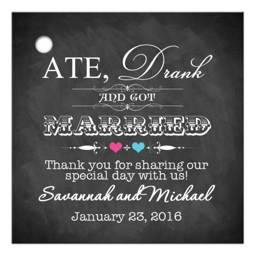 Wedding favor tag on chalkboard with pink and blue hearts