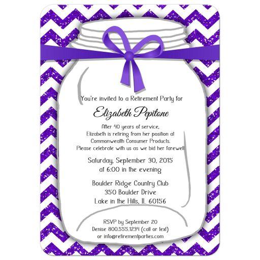 Sparkly Purple And White Chevron Retirement Party Invitation
