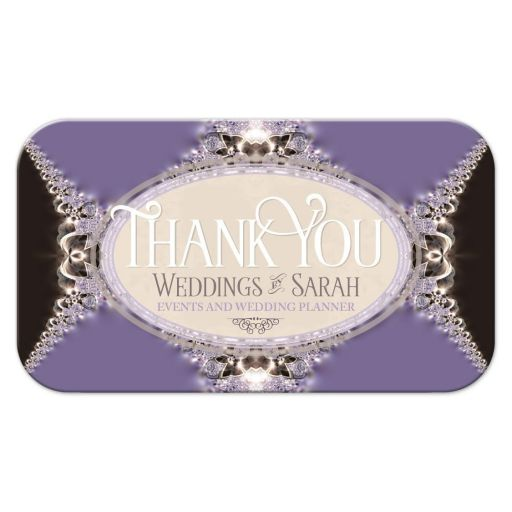 Purple Satin & Lace Thank You Business Cards