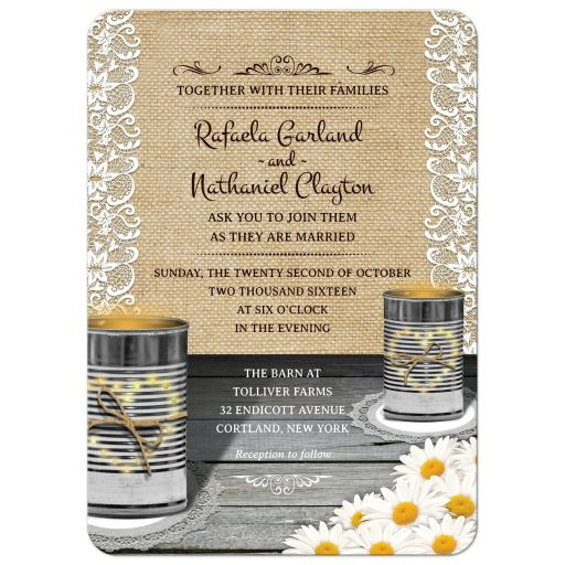 Wedding Invitation - Rustic Tin Can Lace and Daisies Wedding