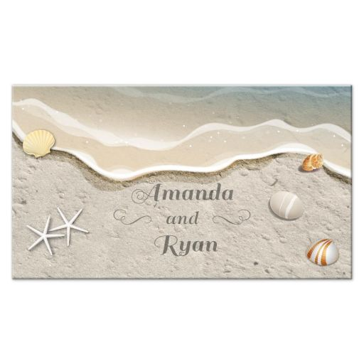 Place Card - Waters Edge Shells and Beach Sand Wedding