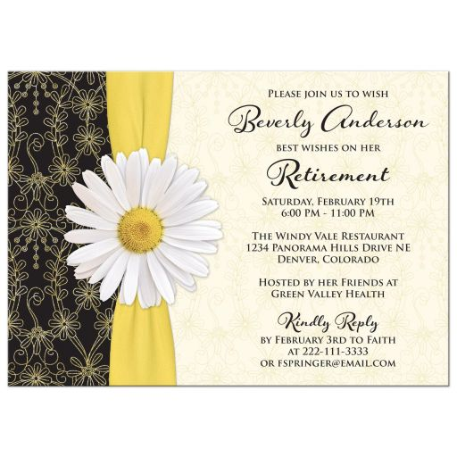 White daisy, gold yellow ribbon, black and gold floral lace retirement party invitation front