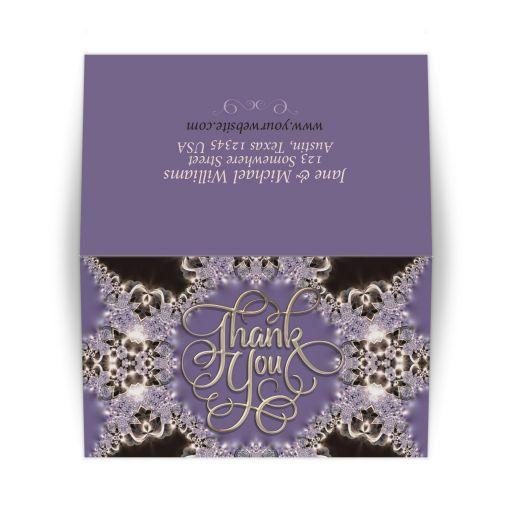 Purple Sparkle Lace Thank You Card