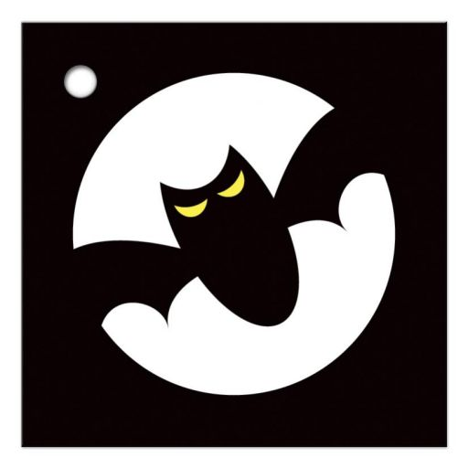 Graphic bat with yellow eyes in front of a full moon, gift or favor labels