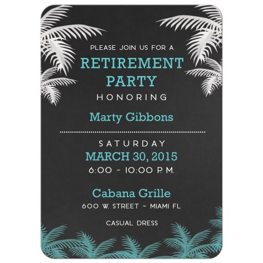 Tropical Palm Tree Retirement Party Invitations