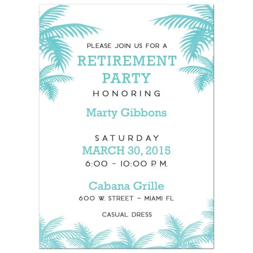Palm Tree Retirement Party Invitations