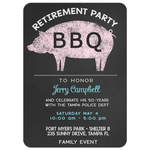 Pig Roast BBQ Retirement Party Invitation