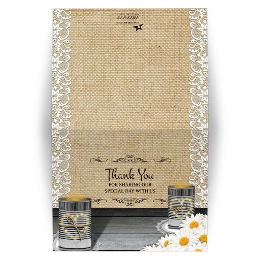 Wedding Thank You Card - Rustic Tin Can Lace and Daisies Wedding