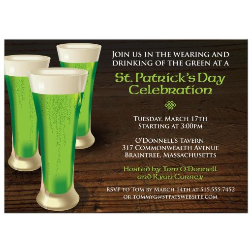 St Patricks Day Party Invitation - Green Beer Glasses