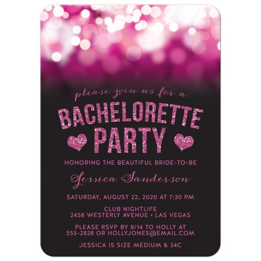 Party Lights & Glitter Bachelorette Party Invitations front