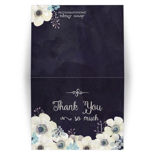 Midnight blue and plum purple thank you wedding folded card