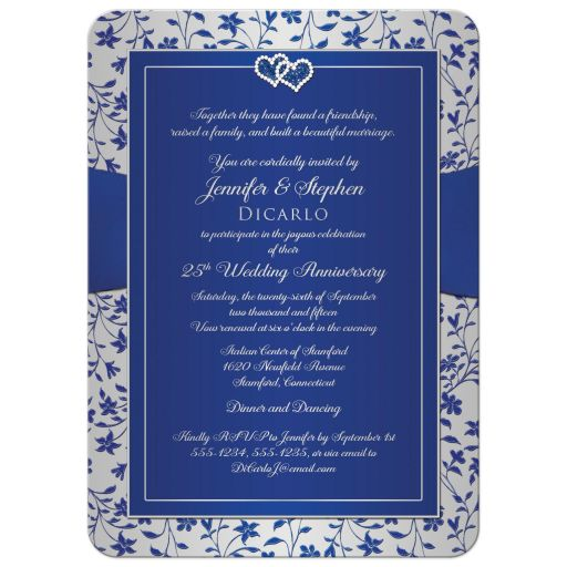 silver wedding anniversary invite with ribbon and joined hearts in royal blue and silver