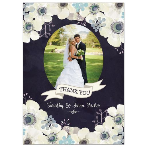 Midnight blue and plum purple floral wedding thank you photo card