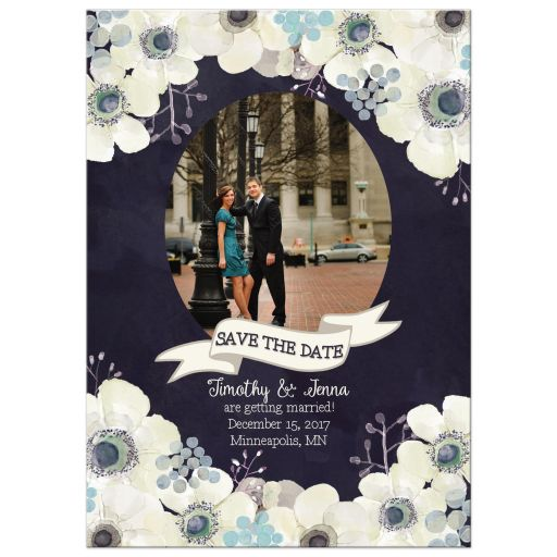 Midnight blue and plum purple floral wedding save the date photo card