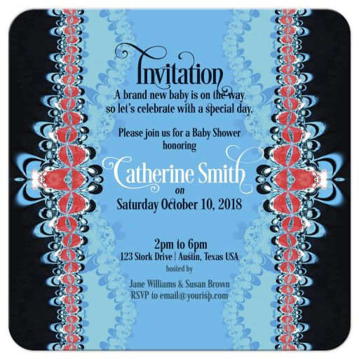 Red+Blue Lace Frills Baby Shower