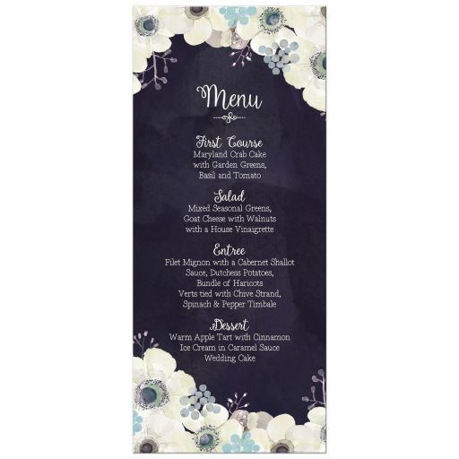 Midnight blue and plum purple watercolor floral wedding menu