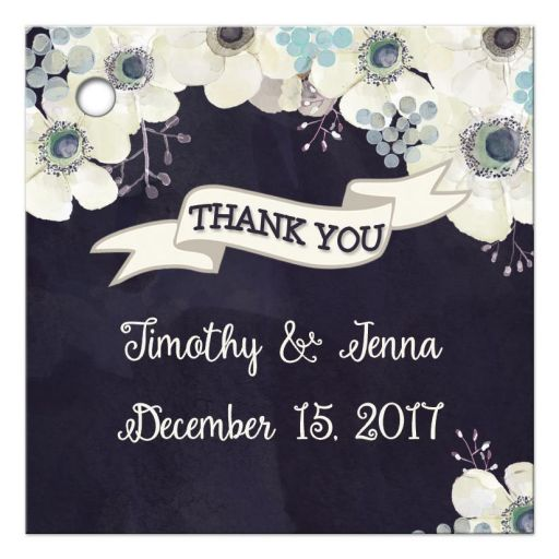 Midnight blue and plum purple floral wedding thank you favor tag