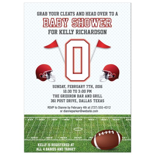 Baby Shower invitation - Red Football Field