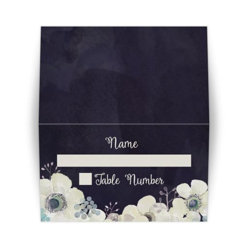 Midnight blue and plum purple watercolor floral wedding place card
