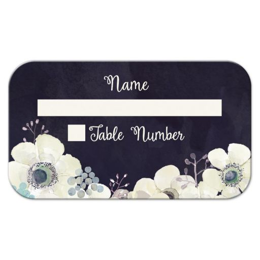 Midnight blue and plum purple floral wedding table place card