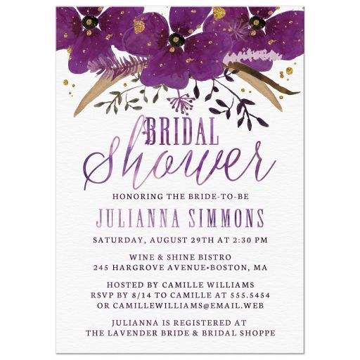 Pretty Watercolor Violet Flowers Bridal Shower Invitations front
