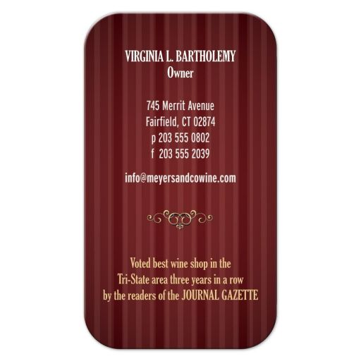Business Card - Burgundy Wine Shop Bottle Opener