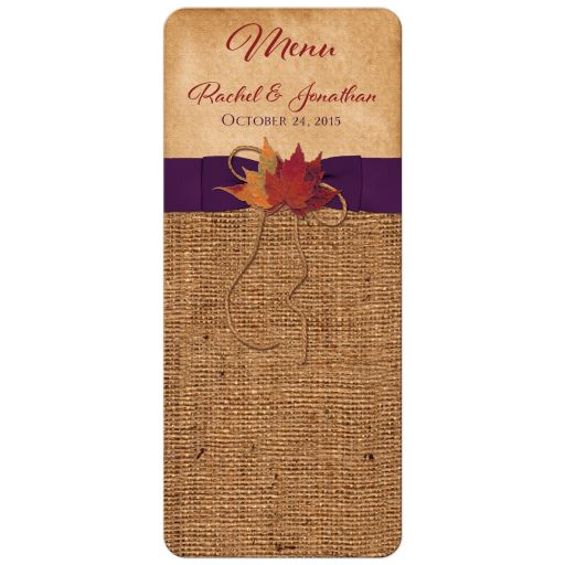 Rustic burlap wedding menu card with autumn leaves and purple ribbon