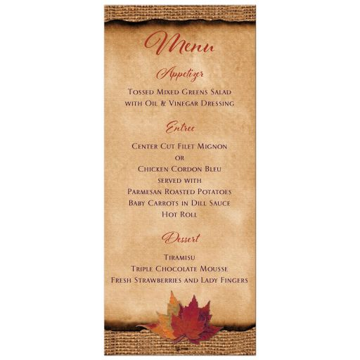 Autumn leaves wedding menu card on burlap with purple ribbon.