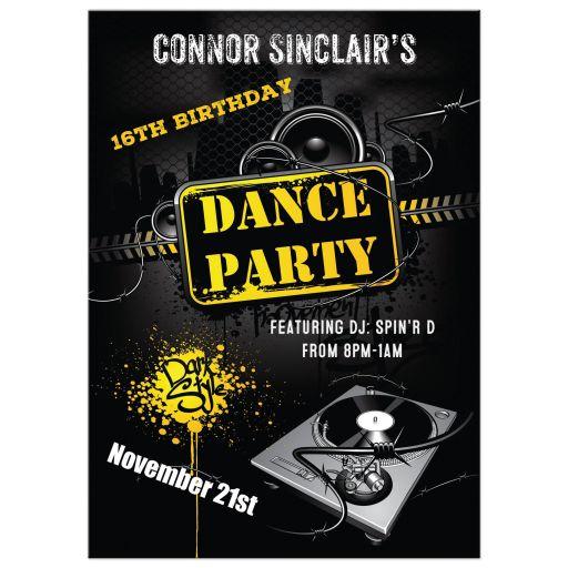 16th birthday party invitation for a teen boy