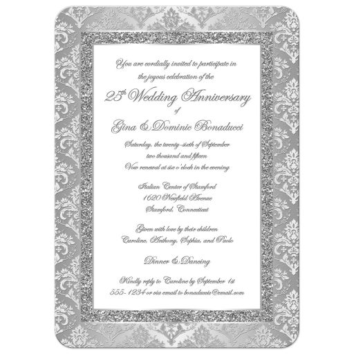 25th wedding anniversary invitation in silver and white damask