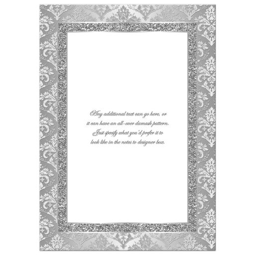 Silver and white damask wedding anniversary invite with glitter