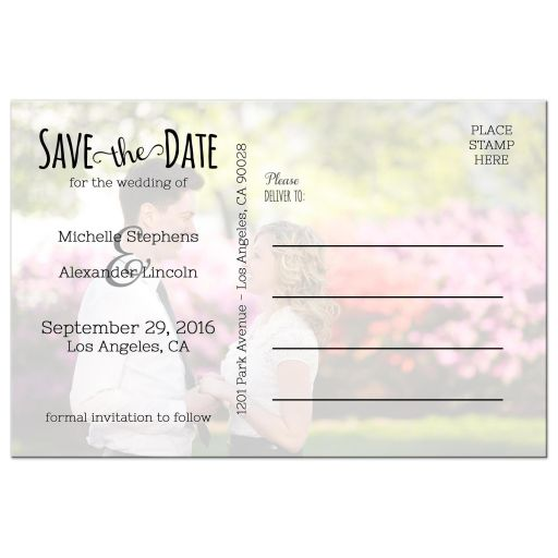 Personalized Trendy Chalkboard Save The Date Photo Post Cards