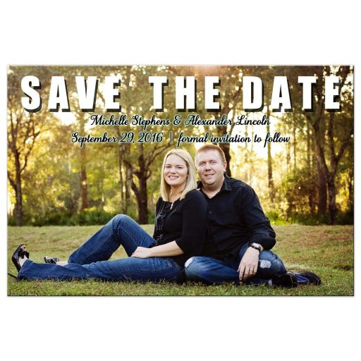 Trendy And Simple Save The Date Photo Post Card