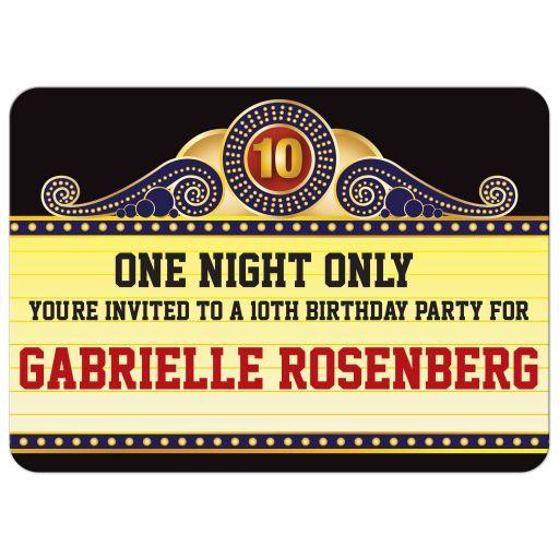Birthday Party Invitation - Theatre Marquee