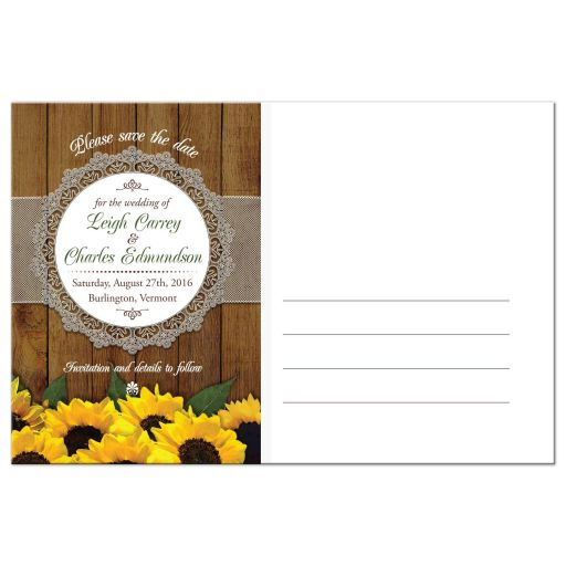 Save the Date Card - Rustic Watercolor Sunflowers and Lace Wedding