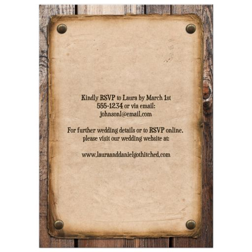 Vintage Ate, drank & got Hitched post-wedding reception invite with western theme