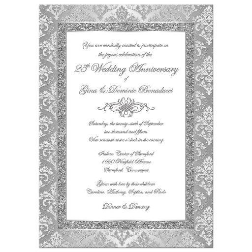 25th wedding anniversary invitation in silver and white damask with ornate scroll