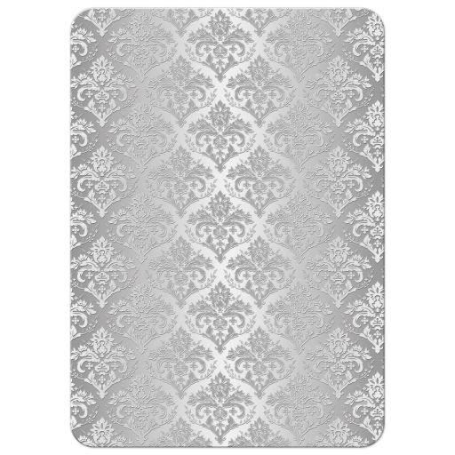 Silver and white damask wedding anniversary invite with glitter and fancy scroll